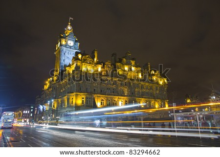 The night view of the street in Edinburgh city, Scotland - stock photo