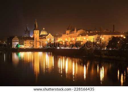 The night View on bright Prague Old Town above the River Vltava, Czech Republic - stock photo