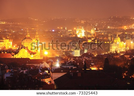The night View on bright Prague with St. Nicholas' Cathedral, Czech Republic - stock photo
