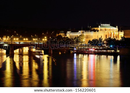 The night View on the Prague House of Artists above the River Vltava, Czech Republic