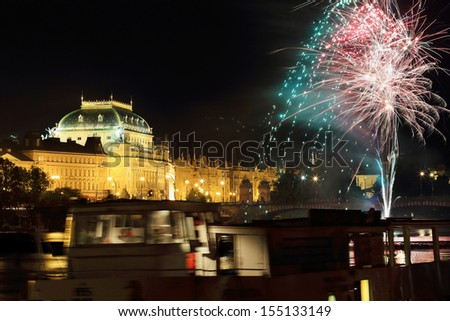 The night View on the Prague National Theater, Czech Republic - stock photo
