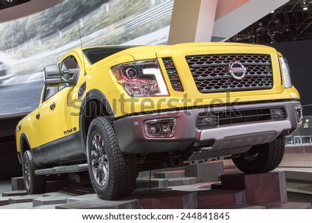 The 2016 Nissan Titan at The North American International Auto Show January 12, 2015 in Detroit, Michigan.  - stock photo