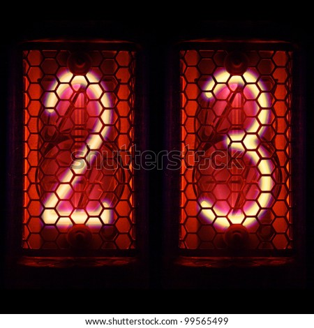 The  Nixie tube indicator of the numbers of retro style.  Digit 2, 3 - stock photo