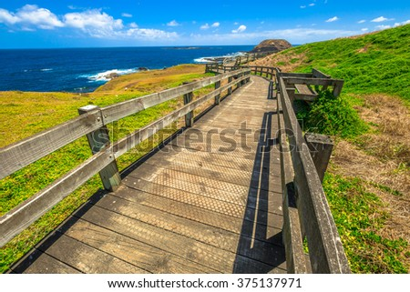 The Nobbies, boardwalks to Seal Rocks. Grant Point, western tip of Phillip Island, Victoria, Australia - stock photo