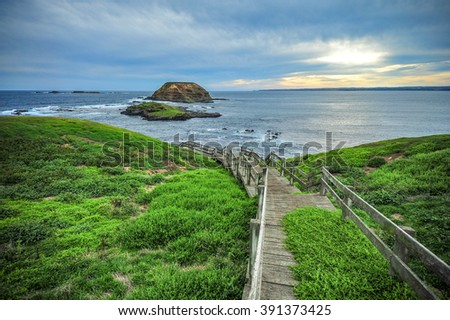 The Nobbies, boardwalks to Seal Rocks. Grant Point, western tip of Phillip Island, Victoria, Australia. - stock photo