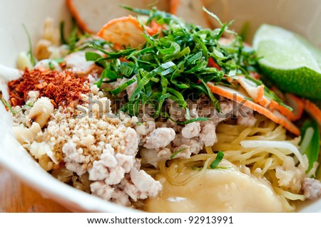 The Noodles of sukothai style in thailand - stock photo