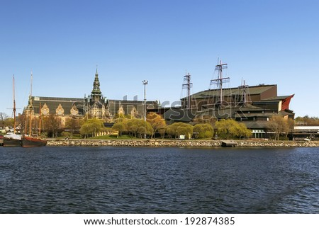 The Nordic Museum and Vasa Museum is museums located on Djurgarden island in central Stockholm, Sweden - stock photo