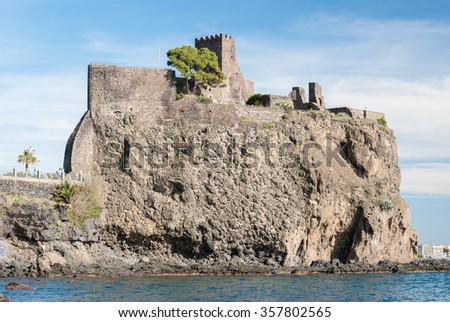 The norman castle of Acicastello, in Sicily - stock photo