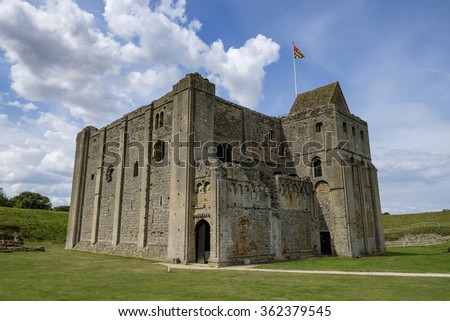 The Norman keep of Castle Rising on a sunny summers day. - stock photo