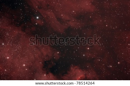 The North America Nebula (NGC 7000 or Caldwell 20) is an emission nebula in the constellation Cygnus, close to Deneb (the tail of the swan and its brightest star). - stock photo