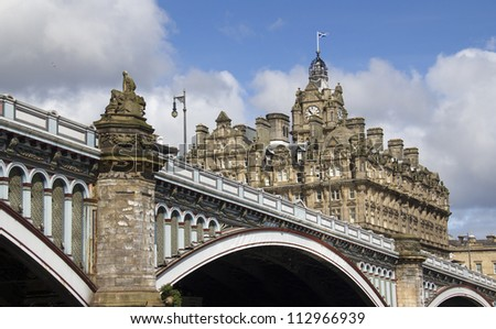 The North Bridge and Balmoral Hotel in Edinuburgh, Scotland, UK - stock photo