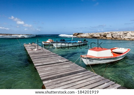 The North Coast of Curacao Playa Kanao or surf beach Caribbean - stock photo