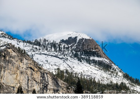 The North Dome at Yosemite National Park in Winter   - stock photo