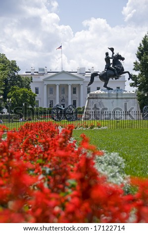 The north facade of the White House seen from Lafayette Park. The equestrian statue of President Andrew Jackson was erected in 1853. - stock photo