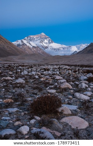 The north face of Mt. Everest after sunset, Tibet - stock photo