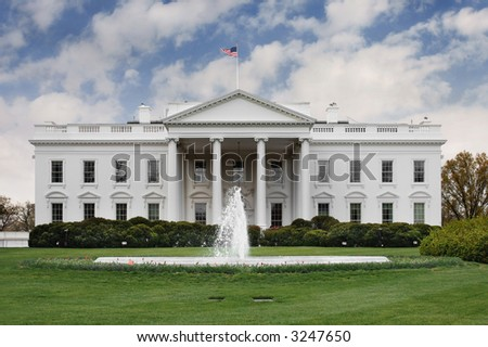 The north side of the White House looking at the Rose Garden - stock photo