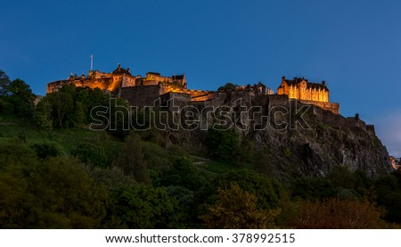 The North Walls of Edinburgh Castle, Scotland - night view - stock photo