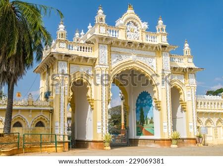 The Northern gate of the Mysore Maharaja���´s Palace. Karnataka, India - stock photo