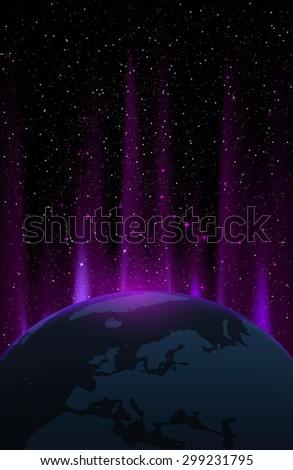 The Northern Light Aurora illustration. - stock photo