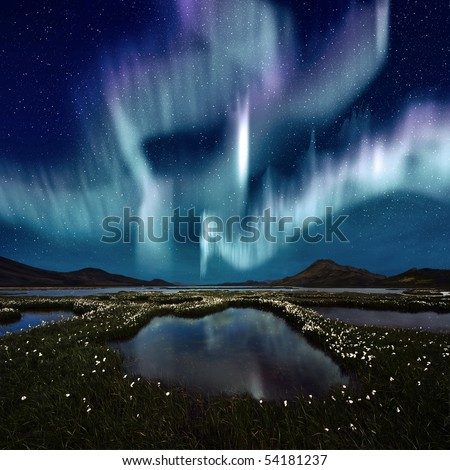 The Northern Light over the marsh landscape with wildflowers in Landmannarlaugar, Iceland - stock photo
