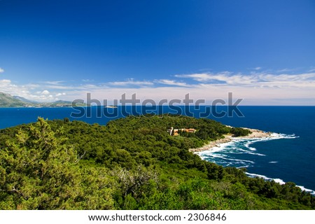 The northern tip of Lokrum Island showing its old Benedictine Monastery - stock photo