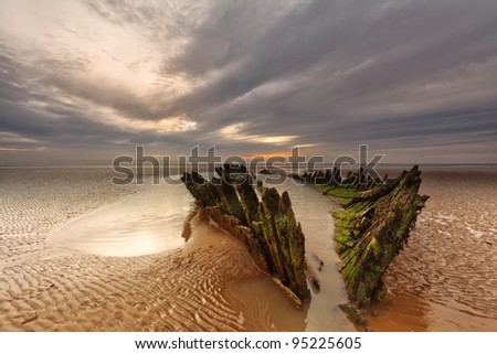 The 1897 Norwegian barque SS Nornen on the beach at Berrow, Somerset, - stock photo