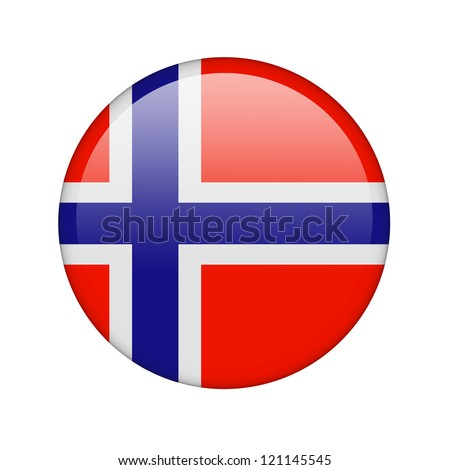 The Norwegian flag in the form of a glossy icon. - stock photo