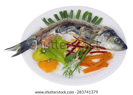The Norwegian herring with vegetables. Comic isolated concept. A skeleton of the eaten fish and a skin of fruit and spices. - stock photo