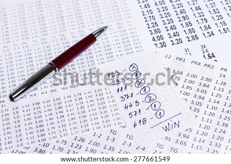 The note with the win selection of the winning codes on bookmakers
