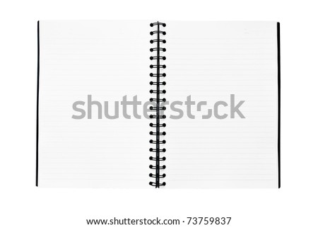 The notebook is on the white background - stock photo