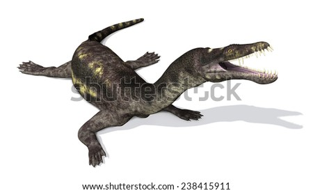 The Nothosaurus was prehistoric semi-oceanic reptile that lived during the Triassic Period - 3d render. - stock photo
