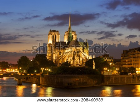 The Notre Dame at sunset, Paris - stock photo