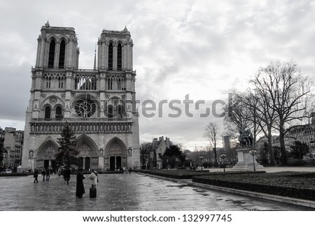 The Notre Dame Cathedral after a storm - stock photo