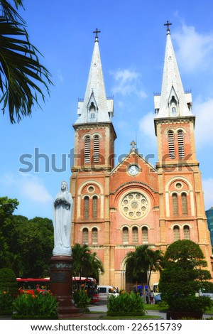 The Notre Dame Cathedral at Ho Chi Minh City in Vietnam - stock photo