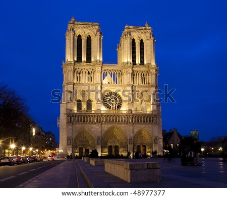 The Notre Dame cathedral in Paris