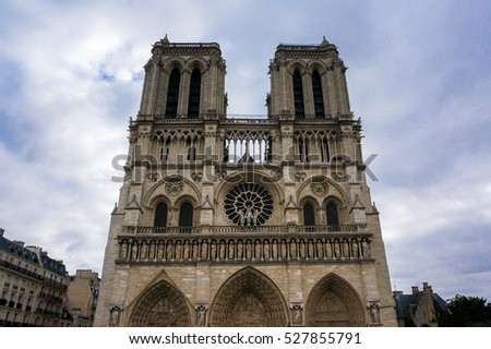 The Notre Dame Cathedral of Paris, France. The front view shot in October 2016