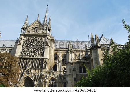 The Notre Dame church in Paris - France - stock photo