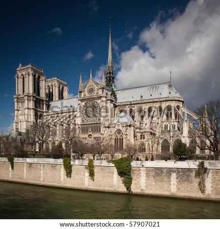 The Notre dame de Paris church side view - stock photo