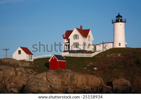 The Nubble Light In Late Afternoon, Cape Neddick, Maine - stock photo