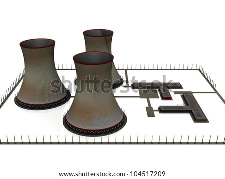 the nuclear power station - stock photo