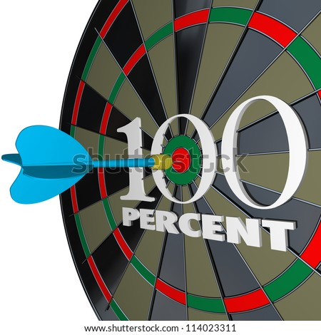 The number and word 100 Percent on a dartboard and a dart hitting the center bulls-eye target to symbolize full or total success - stock photo