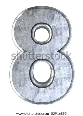 The number 8. 3D rendered Illustration. Isolated on white. - stock photo