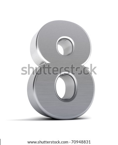 The number eight as a brushed chrome object over white - stock photo
