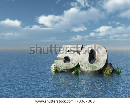 the number fifty at the ocean - 3d illustration