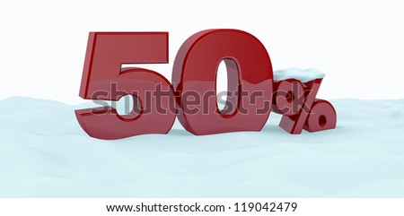 the number fifty with the percent symbol over the snow (3d render) - stock photo