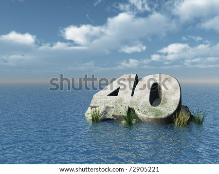 the number forty at the ocean - 3d illustration - stock photo