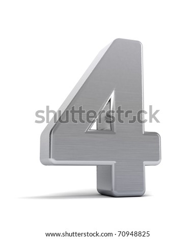 The number four as a brushed chrome object over white - stock photo