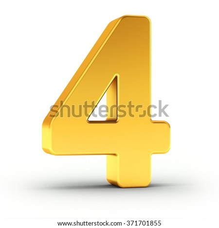 The number four as a polished golden object over white background with clipping path for quick and accurate isolation. - stock photo