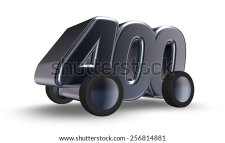 the number four hundred on wheels - 3d illustration - stock photo