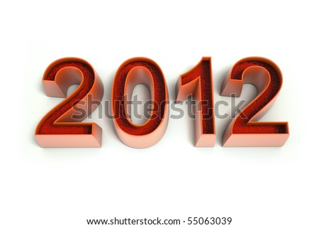 The number 2012 in a red warm color. Isolated in white.  3d rendered image Clipping path included - stock photo
